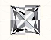 Square Diamond Paper Piecing Pattern - Princess Cut - Gemstone/Jewel Quilting Pattern