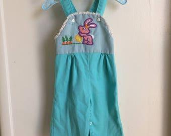 VTG Krazy Kritters Baby Girl Overalls Bunny Rabbit Sz 6-12M