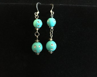 Vintage Faux Turquoise Rhinestone Ball Dangling Earrings (ABX1E)