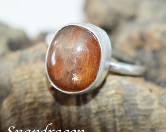 Sunstone cabochon set sterling silver ring UK size R US 9