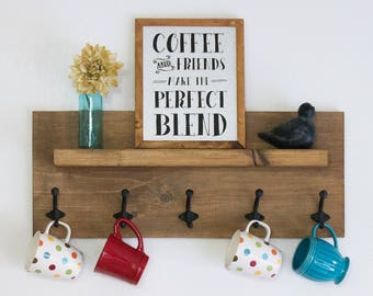 Wooden Display Center with Floating Shelf and 5 Hooks