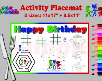 Instand DL -PJ Masks  activity Placemat Party game  printable -  two sizes!  -  Digital File (NOT editable)