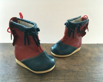 Soviet vintage kids boots Red blue winter boots Children boots Baby winter fall boots USSR era kids boots