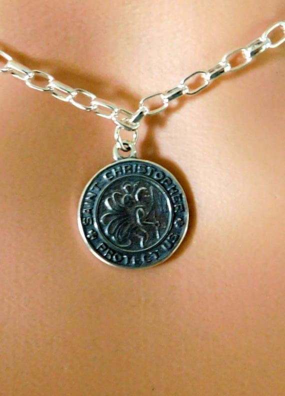 Sterling silver St. Christopher medal, round medallion, Catholic jewelry, Christ bearer, Patron Saint
