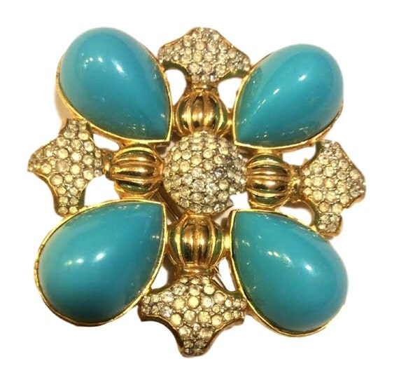 Kenneth Jay Lane Vintage KJL Brooch - Kenneth Lane Designer Signed Pin -  Vintage Jewelry - FREE Shipping USA