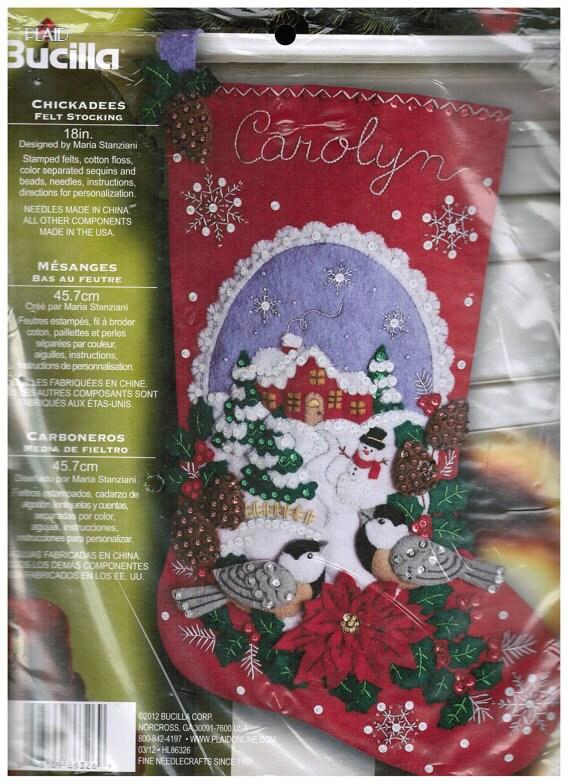 "Bucilla Felt Stocking Kit Chickadees 18"" Christmas Stocking #86326 DIY"