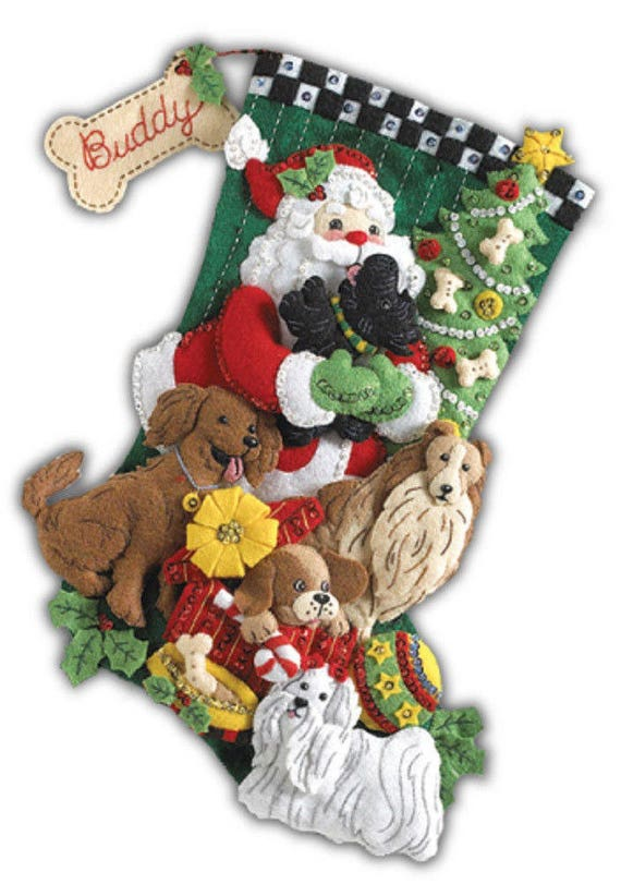 Bucilla Felt Stocking with Dogs, Christmas Felt Stocking Kit Santa Paws, Bucilla Dog Stocking