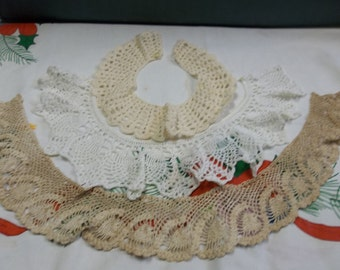 Vintage Lot of Handmade Lace and Crochet Collars, Doll Clothing, 0816S