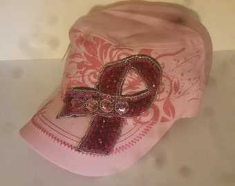 HAT8832HPKBreast Cancer Awareness Vintage Cadet Hat w/Rhinestone Adjustable CapIt has Embroidery w/print 100% cotton
