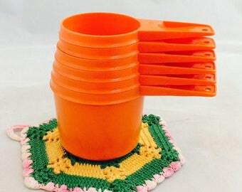 Vintage Tupperware Orange Measuring Cups, Retro Orange Tupperware Measuring Cups