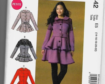 M7442 McCall's Jackets, Coats, and Belt Sewing Pattern Sizes 14-22 Hoodie