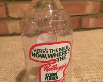 Kellogg's Cornflakes vintage Unigate milk bottle