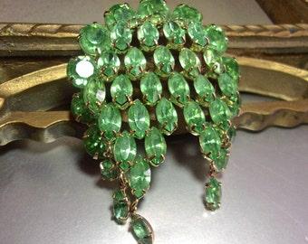 Green Peridot Rhinestone Brooch, KRAMER OF NY, Cascading Dangles, Vintage