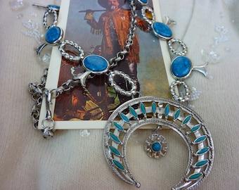 Vintage faux TURQUOISE SQUASH BLOSSOM necklace