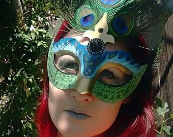 Peacock Mask Masquerade Ball Feathered Cosplay Goddess
