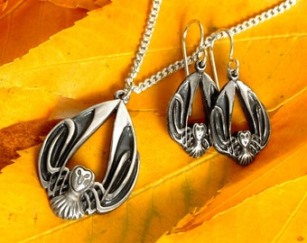 Silver Owl Necklace & Earring Set, Celtic Owl Pendant, Sterling Owl Earrings, Barn Owl Jewelry, Art Nouveau Owl Jewelry, Owl Lover Gift
