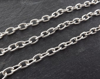 7 x 5mm Cable Chain  -  Matte Antique Silver Plated - 1 Meter  or 3.3 Feet