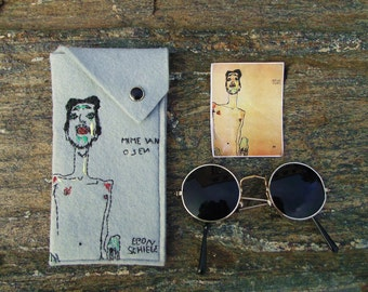 Vegan Women's Glasses case, READY TO SHIP, Egon Schiele sunglasses holder, Hand embroidered eyeglasses case, grey women spectacle case