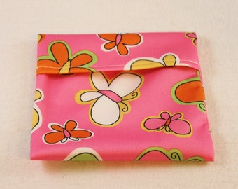 Reusable Pad Wrapper - Pink Butterfly -