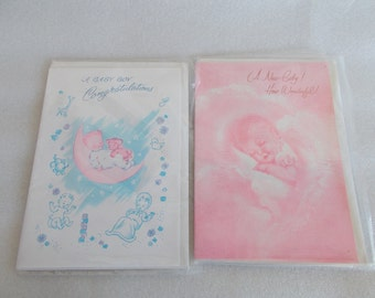 Vintage NOS A New Baby Greeting Card // Lot