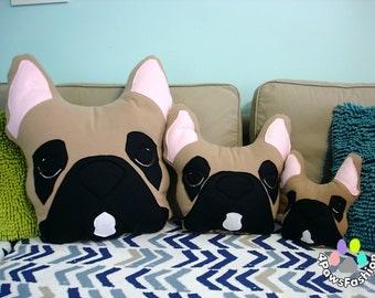 BAXTER French Bulldog pillow black fawn white markings Frenchie toy / 4PawsFashion