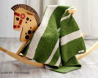 Knitted blanket, baby blanket, green blanket, handmade blanket