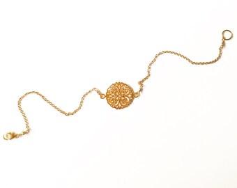 24kGold Vermeil Filigree Flower 'Wish Bracelet' //gold bracelet //gold jewellery //gifts for women // friendship bracelet //handmade