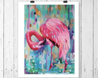 Flamingo art print, bird prints, flamingo painting, flamingo wall art, tropical art decor, florida art, tropical wall art, pink flamingo,