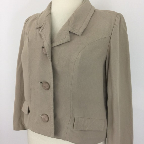 Vintage Mod lightweight jacket beige tailored boxy coat Jackie O style UK 12 1950s 1960s suit top linen moygashel