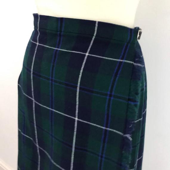 vintage kilt tartan skirt plaid pleated skirt classic style ancient douglas weave UK 16 18 high waisted navy green Scottish tartan plus size