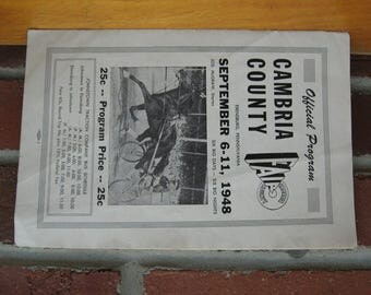 1948 cambria county fair horse race program ebensburg pa vintage
