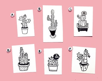 Cactus Rubber Stamps (6 designs)