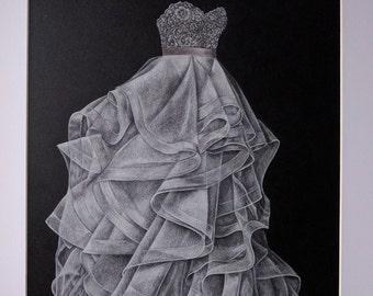 """9""""x12"""" Custom Wedding Gown Drawing"""