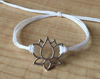 Silver Lotus Symbol Friendship Bracelet - Custom Friendship Bracelet - Yoga Bracelets