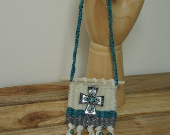 WOVEN HANGING FRAGRANCE  Rear View Mirror Hanging wi Fragrance Option . Cross Charm and Beaded . Turquoise . Dream Catcher . Wall Art .
