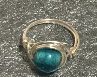 Wire wrapped ring, size 5.5/6, Blue gemstone ring, silver tone ring, anillo, schmuck, aljahas, joyeria