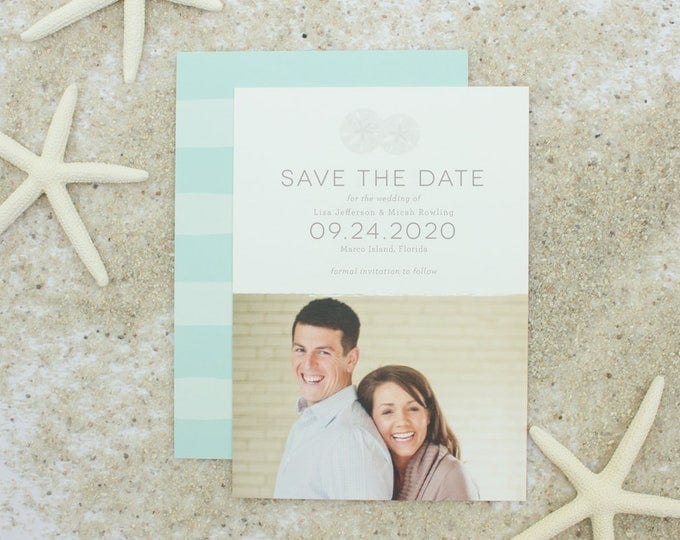 Save the Date Card for Beach Weddings, Modern Save the Dates for Destination Wedding, Sand Dollar Engagement Announcements | Refreshing