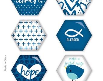 Illustrated Faith - Basics - Mrs. Blueberry You Hexies - Epoxy Stickers - 8 pieces - 1533