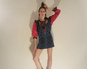 velvet & denim button-down tunic dress