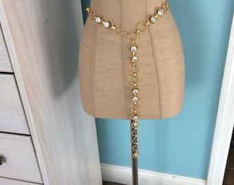 Vintage Rhinestone and Gold Link Ladies Belt