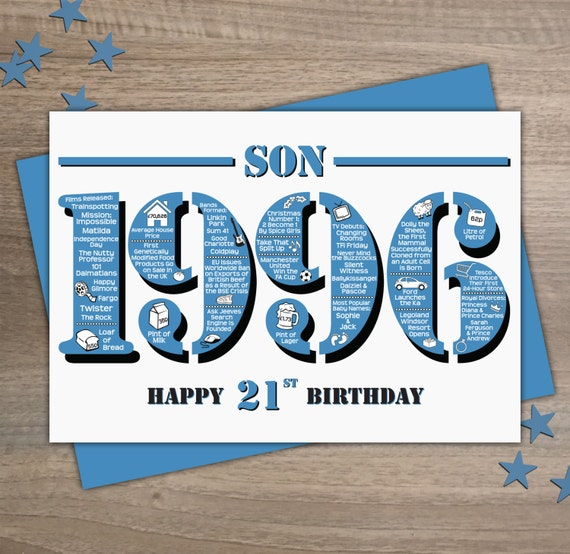 Happy 21st Birthday Son Greetings Card Born In 1996 Year Of