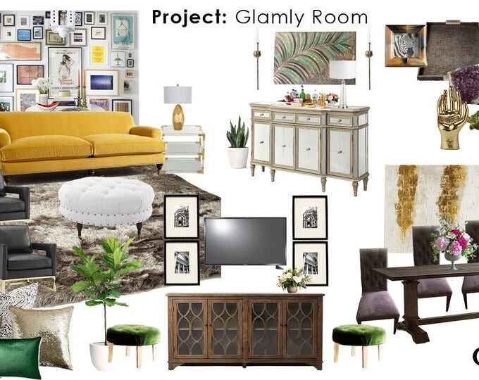 Custom Home Decor Design Board and Shopping List Interior Design Moodboard Any Room - Furniture, Lighting, Accessories, and More