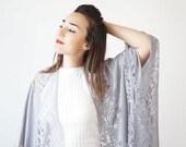 40%OFF Lace Kimono Boho Kimono Gray Kimono Fringe Kimono Fringe Pareo Wife Gift For Aunt For Her Girlfriend Gift For Mom / KIMONO
