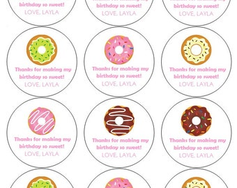 12 Donut Stickers, Birthday Stickers, Thank You Stickers, Donut Theme, Donut Birthday, So Sweet Stickers, Donut Labels, Sweet Theme, Donuts