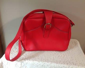Vintage Orange Luggage / Train Case / Carry On  Bag / Make Up Case / Over Night Bag /Tote Bag
