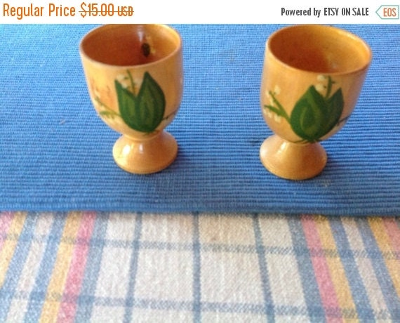 Hand Painted Wooden Egg Cups