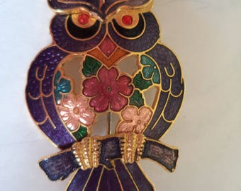 Vintage Unsigned Cloisonne Lilac Openwork Floral Owl Brooch/Pin  Cute