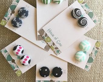 Fabric Button Earrings - Cloth Earrings - Button Post Earrings - Button Stud Earrings - Woven Earring - Cloth Jewelry - Fabric Stud Earrings
