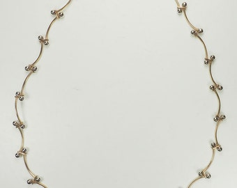 Gorgeous designer Aurafin 14k yellow white gold ball end link necklace chain