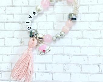 Pink Purse Tassel Bracelet,  Little Girl's Beaded Bracelets, Kids Beaded Bracelets, Girl BoHo Bracelet, Bracelet For Kids, Toddler Bracelets